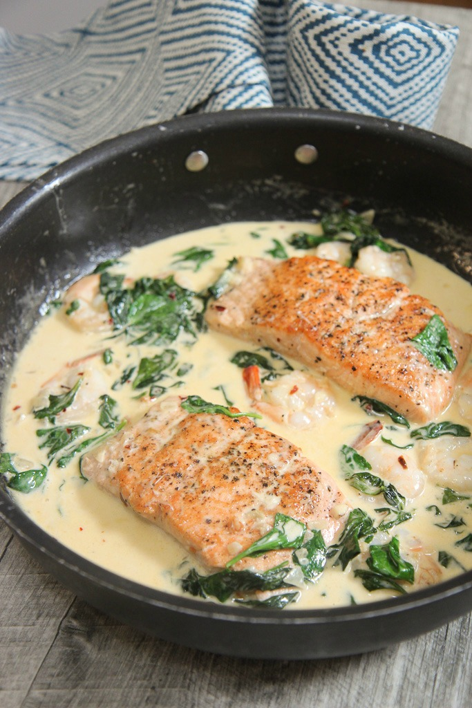 Creamy Garlic Salmon and Shrimp